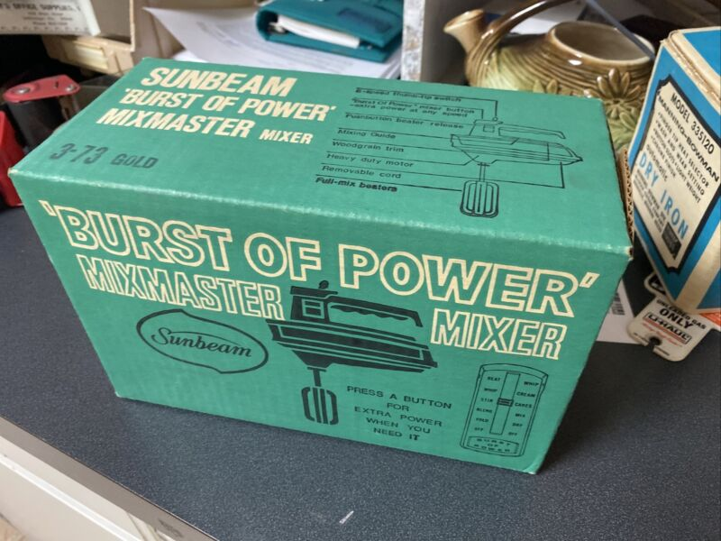 Sunbeam Mixmaster Hand Mixer Gold Vintage 1979 6 Speed New in Box 3-73 Gold NOS