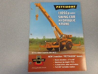Rare Pettibone 130scp Swing Cab Hydraulic Krane Sales Brochure