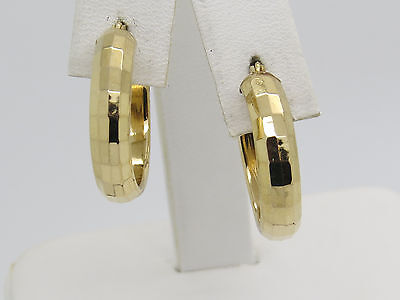(HOLLOW 14k Yellow Gold Disco Pattern SHINY SMOOTH 4.9mm Pierced Hoop Earrings)