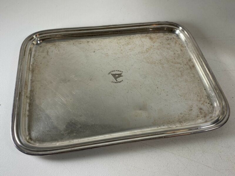 "Vintage United Fruit Company Silver Plated Serving Tray International Co. 14"" -c"