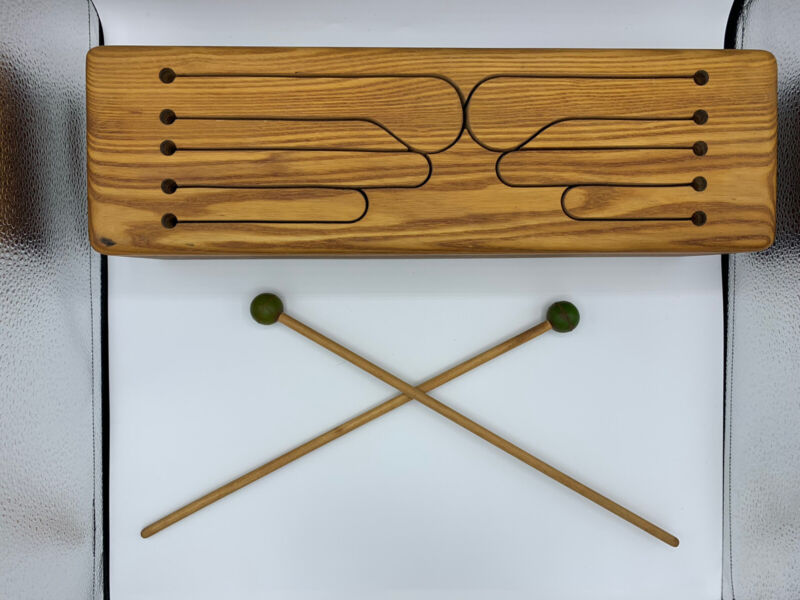 Eight Note Slit Tongue Wooden Percussion Box Drum by MANDILE With Two Mallets
