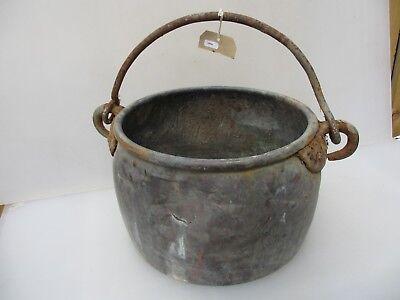 Large Antique Copper Cauldron Cooking Pot Iron Handle Planter Pot Tub Victorian