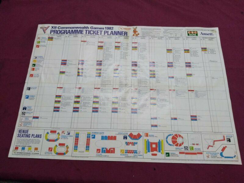 1982 Brisbane Commonwealth Games Program Ticket Planner