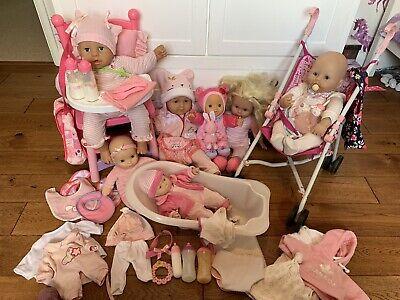 Huge Doll Bundle + Accessories Inc Baby Annabelle, Chou Chou,  Baby Born & Vtech
