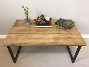 Handcrafted rustic industrial coffee table