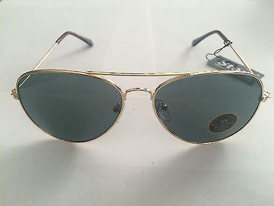 Premium Unisex Larger Aviator Sunglasses with Glass Lens Black or Gold (Aviator Black Lens Gold Frame)