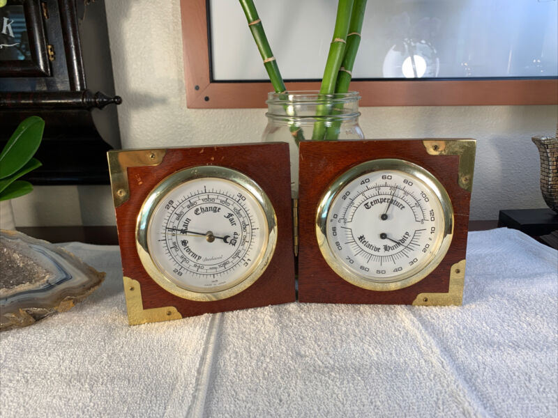 DUNHAVEN Wall Thermometer Barometer Hydro Made In Japan Vintage RARE