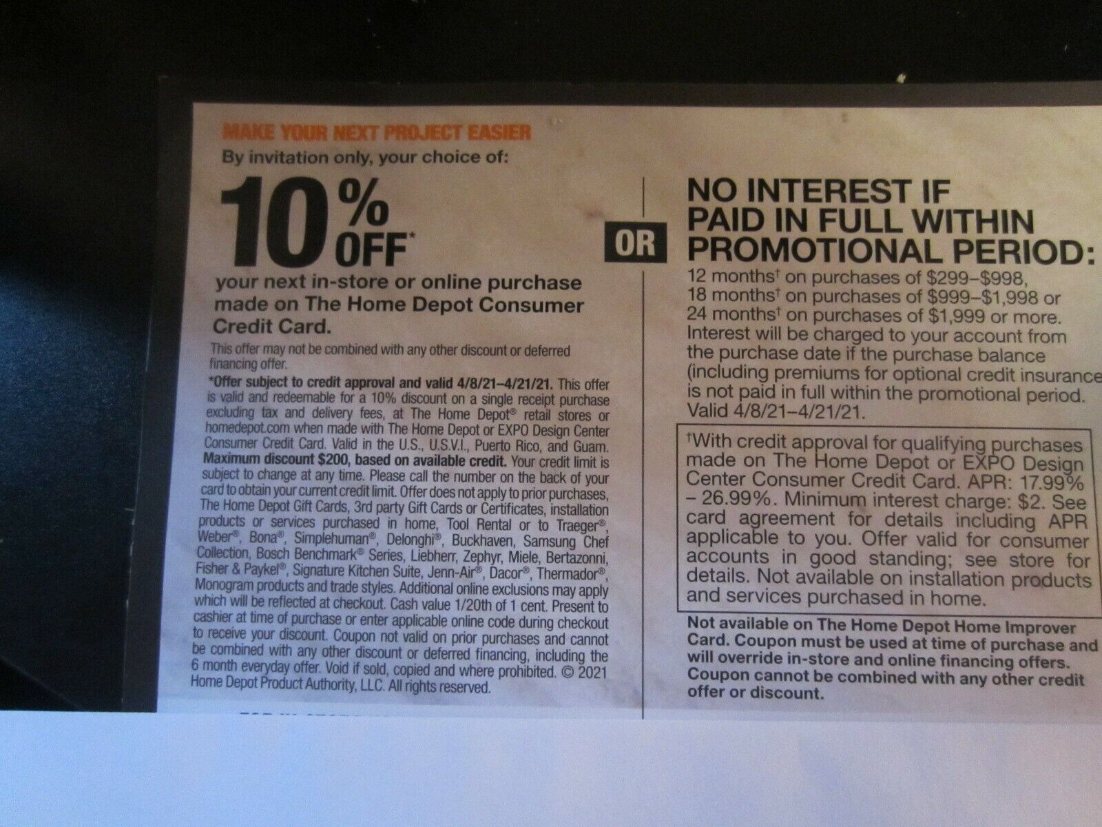 Home Depot Coupon 10 Off -OR - 24 Months No Interest Online-In Store 4/8-4/21 - $24.00
