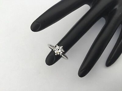 Beautiful 0.62 CTW SI1 Round Cut Diamond Platinum Solitaire Ring, Size 6.75 Ctw Round Cut Diamond Solitaire