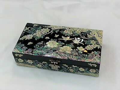Korea Inlaid Mother of Pearl Handmade Choisonne Chinoiserie Oriental Jewelry Box