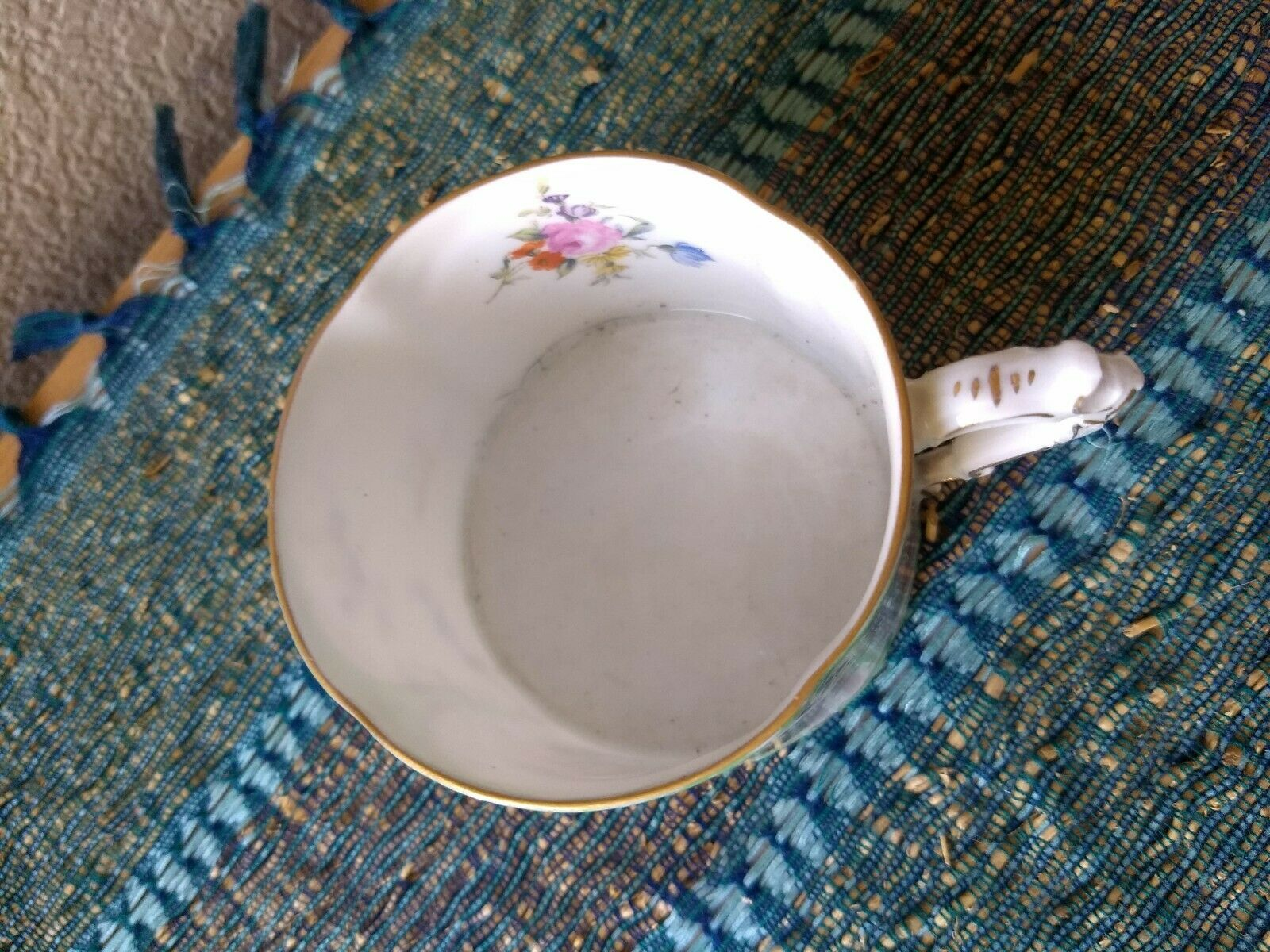 ROSENTHAL Germany Sanssouci Ivory Gold Trim Green Tea Cup Painted Couple  - $9.99