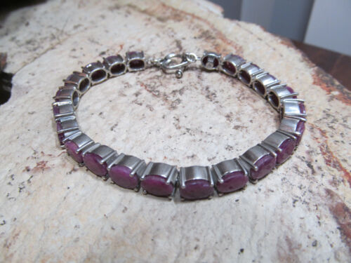 "Vintage 925 Sterling Silver Ruby stone Linked Bracelet 27g, 7 3/4"""
