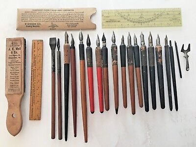 18 Desktop Fountain Pens Calligraphy Nibs Wood Holders+Drawing Tools Protractor