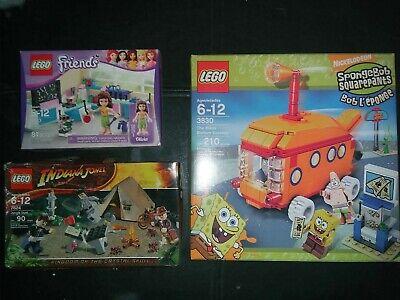 LEGO Sets [Friends 3933, Sponge Bob 3830, Indiana Jones 7624]