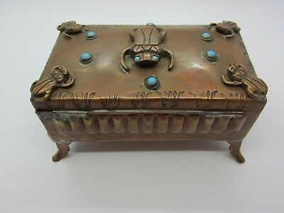 Antique Stamped Copper Humidor Box with Applied Scarab Beetles Blue Stones Glass