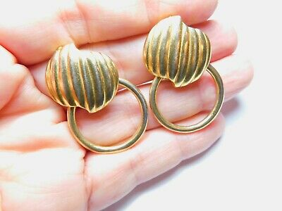 Signed Paolo ( Gucci ) Textured Gold Tone Metal Hoop Clip On Earrings Vintage