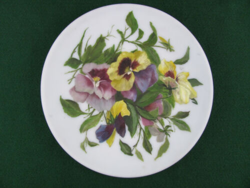 MT Washington Glass Blank Country Victorian Floral Pansies Painting 9 Inch D