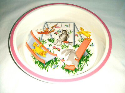 Tiffany Playground Childs Bowl 1992 Animals Rabbit Cat Duck 6.5