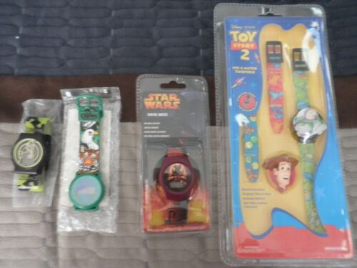 4  Novelty Watch Lot- Toy Story, Star Wars, Shrek-new unused-may need Batteries
