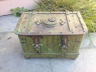 Antique Strong Box Safe Strongbox Armada Safe Locking chest circa key century