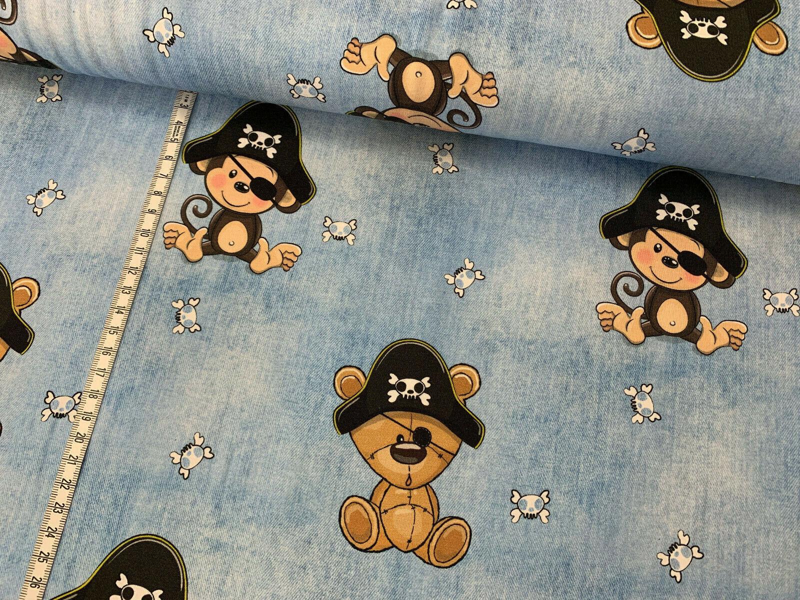 Jersey Affe und Bär Pirat Jeansoptik hellblau Kinderstoff