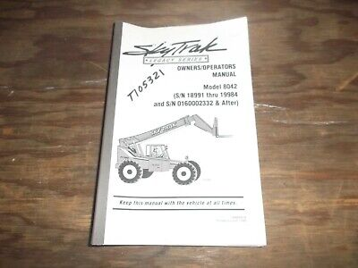 Skytrak 8042 Telehandler Telescopic Forklift Owner Operator Maintenance Manual