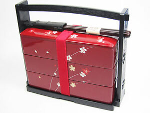 new japanese bento lunch box hanami bento 3tier sakura flower red made in japan. Black Bedroom Furniture Sets. Home Design Ideas