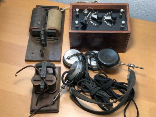 Antique,Lemco Crystal Radio, C. Brandes NAVY Headphones, Telegraph Sounders