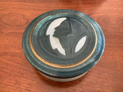 Rare Art Deco Powder Tin Made in USA Teal with Silhouette