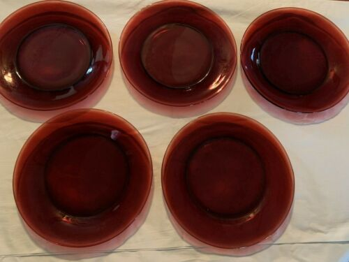 """Beautiful Set of 5 Vintage Royal Ruby Red Depression Glass Plates 91/4"""""""
