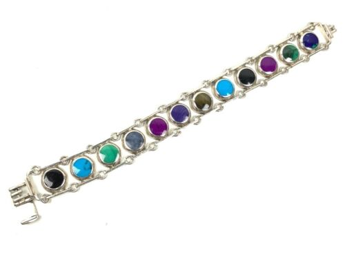 """TAXCO Mexico 950 Sterling Silver Multi-Stone Panel Link Bracelet, 8"""" Long, 46.3g"""
