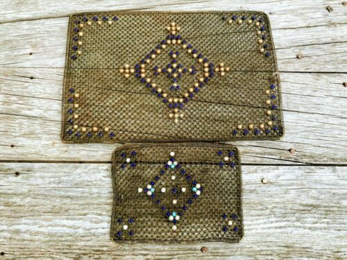 Antique Pair Metal Mesh Wire Trivet Mats With Glass Beads