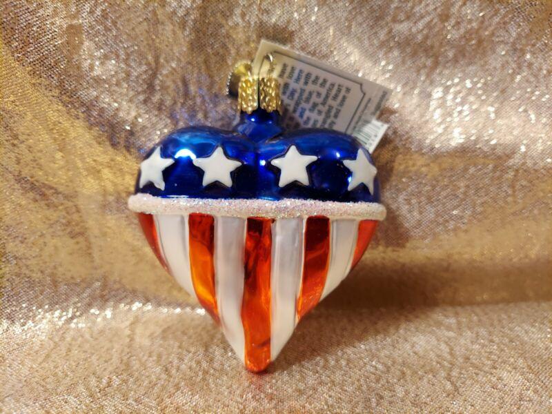 Merck Old World Christmas Ornament American Flag Heart Red White Blue