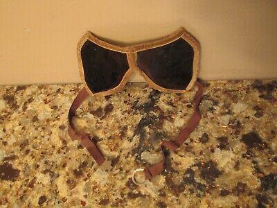 Vintage Primitive Welding Glasses - Stitched Microsuede Frame W Elastic Bands