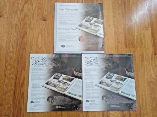 (3) Pkgs Creative Memories 12 x 12 Page Protectors Old Style 15 Sheets+Bonus NIP