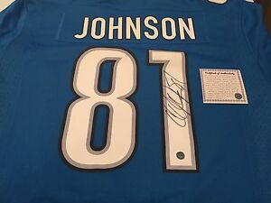Calvin Megatron Johnson signed jersey with COA
