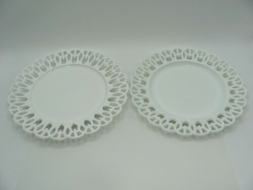Atterbury & Co. Milk Glass Plates Wicket Border Set of 2 late 1800's