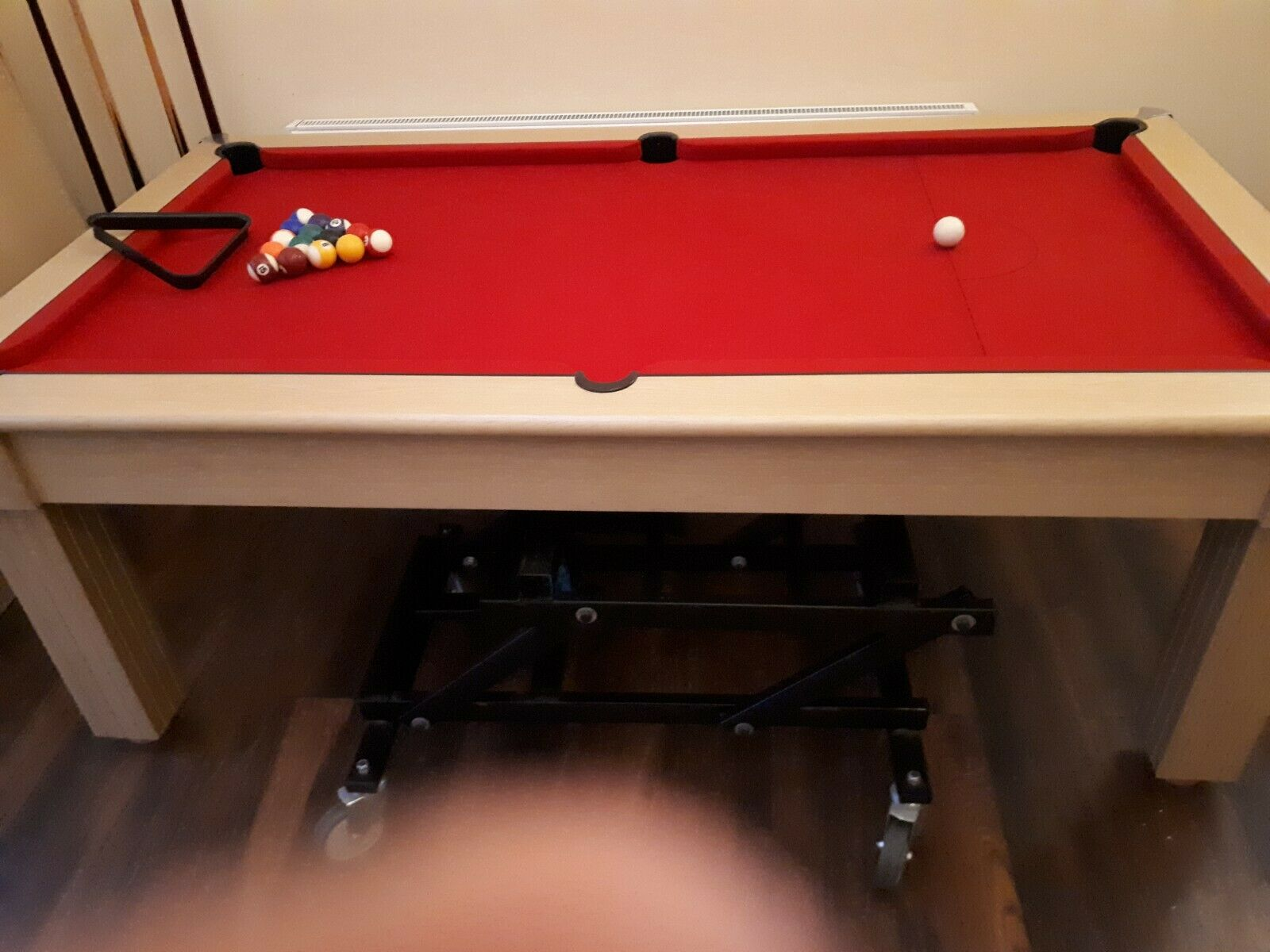 Pool table and dining table 7 foot overall size, 6 foot playing area, slate bed,