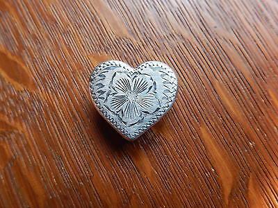 Fritch Bros Vintage Western Ladies Sterling Silver Engraved Heart Scarf Slide