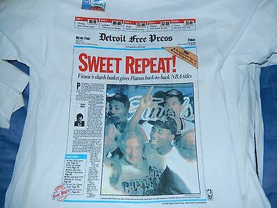 1990 Detroit Pistons Free Press Front Page Repeat Nba World Champions T Shirt Lg