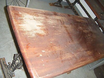 VICTORIAN CAST IRON OBLONG TABLE 4' X 2'  WOOD TOPPED