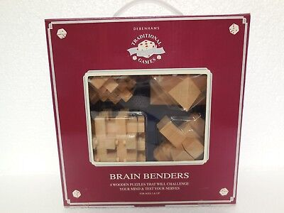 Brain Benders ~ 4 Wooden Puzzles ~ Debenhams Traditional Games