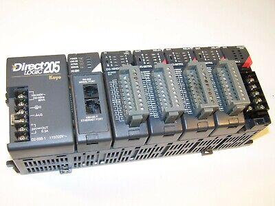 Koyo Direct Logic 205 Plc 6 Slot Dc-06b1 H2-ebc D2-16nd3-2 F208trs F2-02da-2