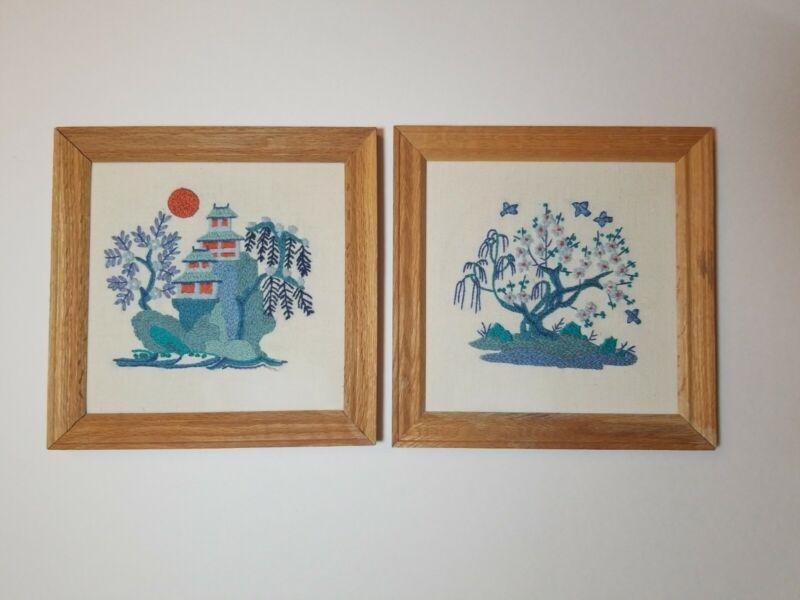 Vintage 1970s Set 2 Japanese Framed Crewel Needlework Embroidery Castle & Bonsai
