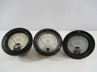 A And M Instruments Phaostron Ammeter 0-5 Amperes Mr36w005acaar Lot Of 3