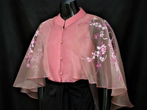 Modern FILIPINIANA Silk CAPE BLOUSE BARONG Philippine National Costume - Pink