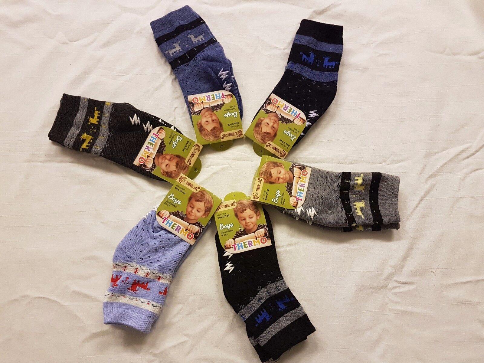 6-12 PAAR KINDER Thermo-Socken ABS-Socken Mädchen/Jungen Gr. 27-30/31-34/35-38