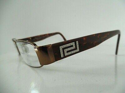 Versace Bronze & Marbled Brown Embellished Oval Eye Glasses 1122-B 51 17 135