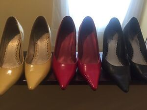 Yellow , red, black pumps
