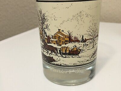 """Vtg ARBY`S Currier & Ives Holiday Drinking Glass 1981 """"American Farm in Winter"""""""